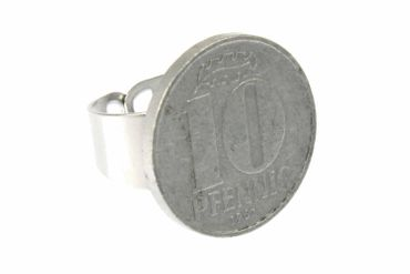 10 Pfennig GDR Ring Miniblings Dime Nostalgia Retro Coin Hammer Sickle New – Bild 1