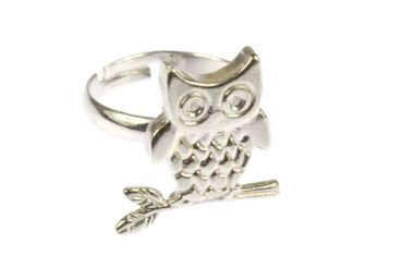 Owl Ring Owl Miniblings Finger Ring Owls Eagle Owl Branch Silver – Bild 2