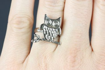 Owl Ring Owl Miniblings Finger Ring Owls Eagle Owl Branch Silver – Bild 1