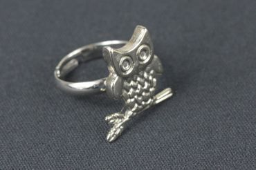 Owl Ring Owl Miniblings Finger Ring Owls Eagle Owl Branch Silver – Bild 3