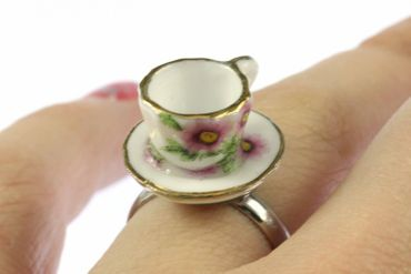 Coffee Cup Tea Pot Ring Cup Miniblings Cup Of Coffee Ring Gold Rim – Bild 5