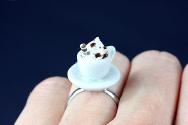 Cocoa Ring Cup Miniblings Ring Cup Coffee Cocoa Hot Chocolate – Bild 3