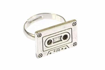 Kassettenring Ring Kassette Miniblings DJ Musik Musiker Mixtape Tape silber – Bild 1
