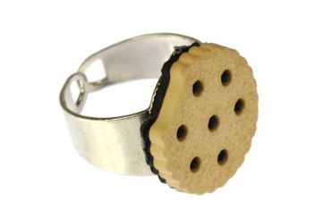 Keksring Ring Keks Miniblings Fingerring Doppelkeks Chocolate Chips + Biss hell – Bild 1