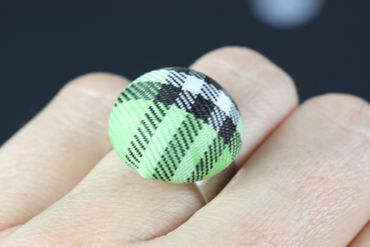 Button Ring Button Miniblings Finger Ring Fabric Button Cloth Green Blue Tones – Bild 3