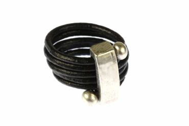 Leather Ring Miniblings Finger Ring Wrapped Leather Belt Leather Balls Black – Bild 1