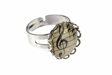 Note Ring Notes Miniblings Finger Ring Beethoven Cabochon Treble Clefs 16mm – Bild 1