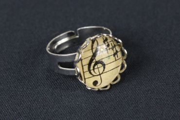 Note Ring Notes Miniblings Finger Ring Beethoven Cabochon Treble Clefs 16mm – Bild 2