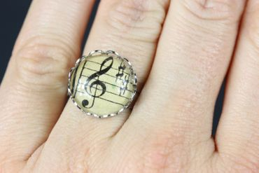 Note Ring Notes Miniblings Finger Ring Beethoven Cabochon Treble Clefs 16mm – Bild 3