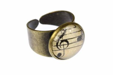 Note Ring Noten Miniblings Finger Ring Cabochon Sheet Of Music 16mm Bronze – Bild 1