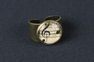 Note Ring Noten Miniblings Finger Ring Cabochon Sheet Of Music 16mm Bronze – Bild 2