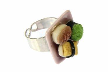 Sushi Ring Sushi Miniblings Finger Ring Maki Nigiri Sushi Roll Plate Cawaii – Bild 1