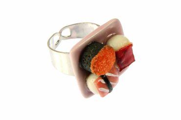 Sushi Ring Sushi Miniblings Finger Ring Maki Nigiri Sushi Roll Plate Cawaii – Bild 2