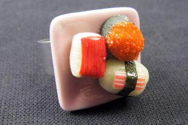 Sushi Ring Sushi Miniblings Finger Ring Maki Nigiri Sushi Roll Plate Cawaii – Bild 5