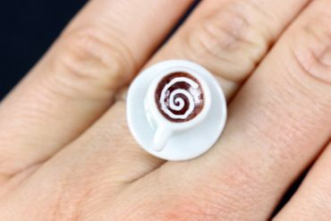 Cup Ring Cappuccino Coffee Cup Miniblings Ring Cup Cocoa Porcelain Mini – Bild 4