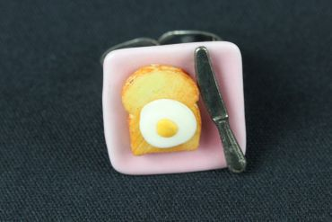 Plate Ring Toast With Egg Knife Miniblings Finger Ring Cawaii Fried Egg Breakfast – Bild 2