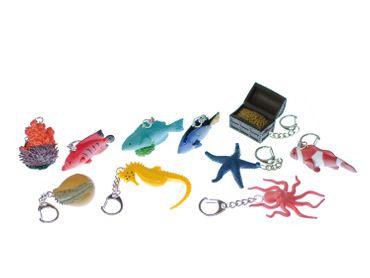 10er Set Seetiere Fisch Muschel Seestern Schlüsselanhänger Miniblings Seepferd – Bild 2