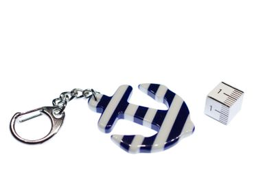 Anchor Key Ring Miniblings Pendant Captain Ship Boat Maritime Stripes – Bild 1