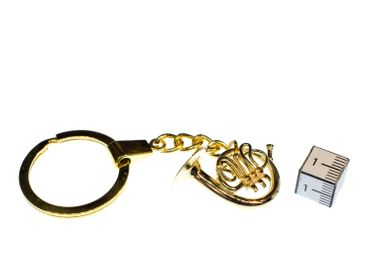 French Horn Key Ring Miniblings Pendant + Box Gold Plated Brass Music – Bild 3