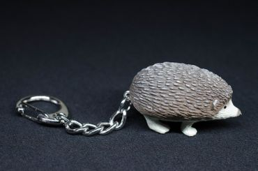 Hedgehog Key Ring Miniblings Pendant Key Ring Garden Rubber Animal Grey – Bild 3