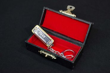 Harmonica Key Ring Miniblings Pendant Harmonica Blues + Box – Bild 4