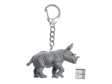 Rhino Key Ring Miniblings Pendant Key Ring Zoo Rubber Gray – Bild 2