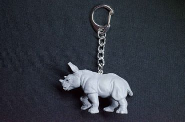 Rhino Key Ring Miniblings Pendant Key Ring Zoo Rubber Gray – Bild 3