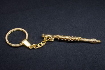 Querflöte Flöte Schlüsselanhänger Miniblings Anhänger Flötist + Box vergoldet – Bild 3