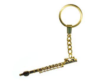 Querflöte Flöte Schlüsselanhänger Miniblings Anhänger Flötist + Box vergoldet – Bild 1