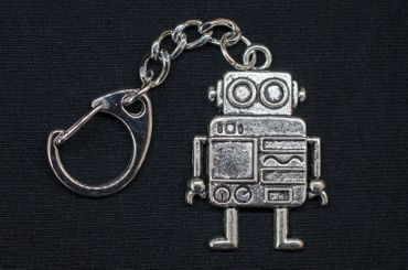 Robot Key Ring Miniblings Pendant Key Ring Steampunk XL Silver – Bild 2