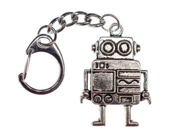 Roboter Schlüsselanhänger Miniblings Anhänger Schlüsselring Steampunk XL silber – Bild 3