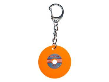 Schallplatte Schlüsselanhänger Miniblings Anhänger Schlüsselring DJ Musik orange – Bild 1