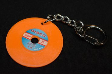 Record Key Ring Miniblings Pendant Key Ring DJ Music Orange – Bild 2