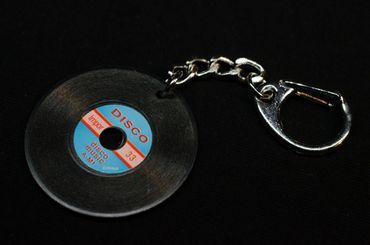 Record Key Ring Miniblings Pendant Key Ring DJ Music Black – Bild 3