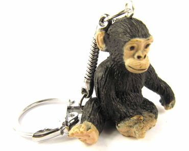 Chimpanzee Key Ring Miniblings Pendant Key Ring Monkey Zoo Rubber