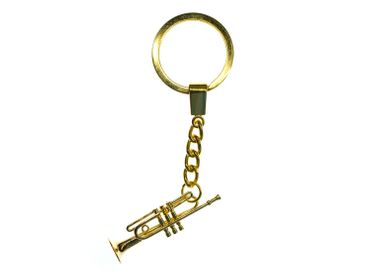 Trumpet Key Ring Miniblings + Box Musicians Gold Plated Jazz Trumpeter – Bild 2