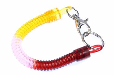 Spiral Key Chain Key Ring Spiral Rubber Key Chain Key Ring Purse Red Pink Orange – Bild 1