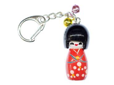 Geisha Key NecklaceKey Ring Miniblings Doll Dolls Wooden Asia Doll Red