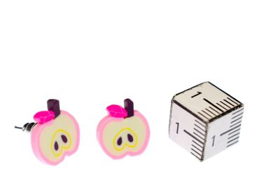 Apple Earrrings Ear Studs Earstuds Miniblings Fruit Apples Fruit Pink White – Bild 3