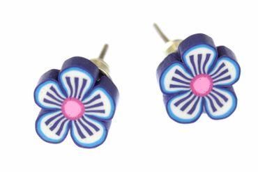 Flower Earrrings Ear Studs Earstuds Miniblings Flower Blossom Spring Blue White 1cm – Bild 1