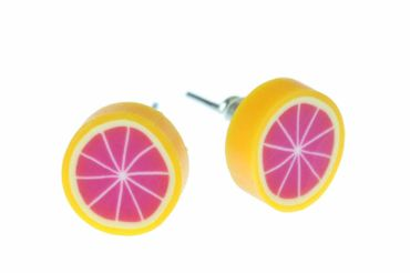 Blutorange Grapefruit Ohrstecker Miniblings Stecker Ohrringe Frucht pink orange – Bild 1