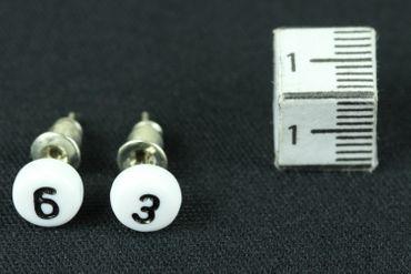WUNSCHZAHL Ohrstecker Stecker Miniblings Wunsch Zahl Ziffer weiß 3+? – Bild 3