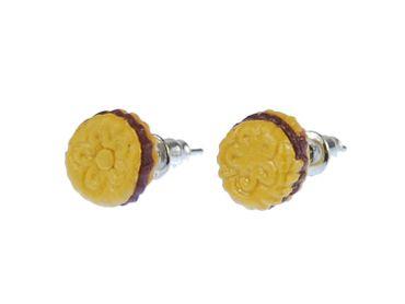 Doppelkeks Keks Ohrstecker Miniblings Stecker Ohrringe Weihnachten rund 7mm – Bild 1