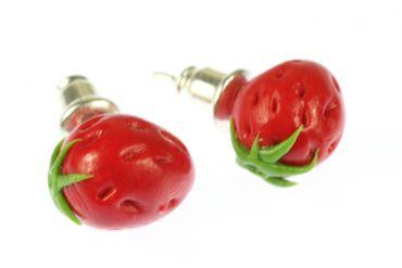 Strawberry Earrrings Ear Studs Earstuds Miniblings Strawberry Berry Fruit Around 3D Red – Bild 1