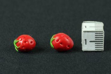 Strawberry Earrrings Ear Studs Earstuds Miniblings Strawberry Berry Fruit Around 3D Red – Bild 3