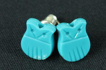 Eule Eulen Ohrstecker Miniblings Stecker Ohrringe Eulenstecker Uhu Kauz türkis – Bild 3