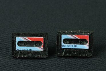 Cassette Earrrings Ear Studs Earstuds Miniblings Dj Musician Tape Blue Red – Bild 3