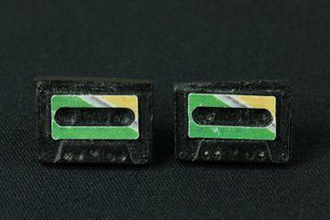 Kassette Ohrstecker Miniblings Stecker Ohrringe DJ Musik Musiker Tape grün  – Bild 4