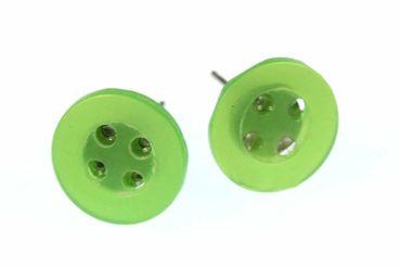 Button Earrrings Ear Studs Earstuds Miniblings Buttons Taylor Sewing DIY Green – Bild 3