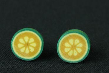 Kürbis Ohrstecker Miniblings Stecker Ohrringe Frucht Gemüse grün gelb rund 1cm – Bild 3
